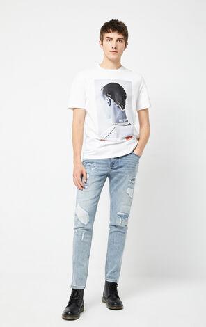 JackJones Men's Winter Stretch Cotton Ripped Distressed Jeans| 220132549