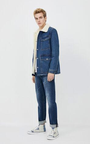 JackJones Men's Autumn & Winter Lapel Plush Denim Jacket | 220157507