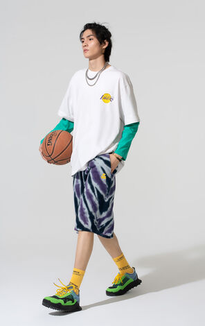 【NBA聯名款】洛杉磯湖人隊刺繡紮染寬鬆短褲
