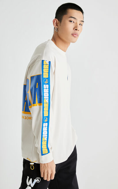 金州勇士聯名字母圓領衛衣, White, large
