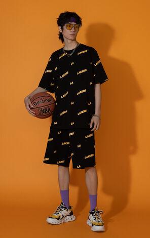【NBA聯名款】洛杉磯湖人隊字母寬鬆T恤