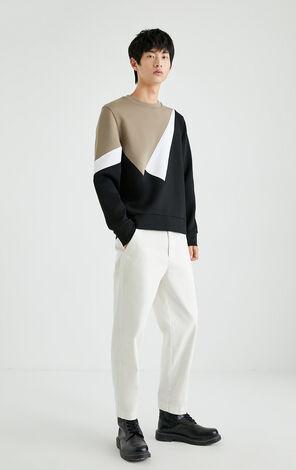 幾何拼色圓領衛衣