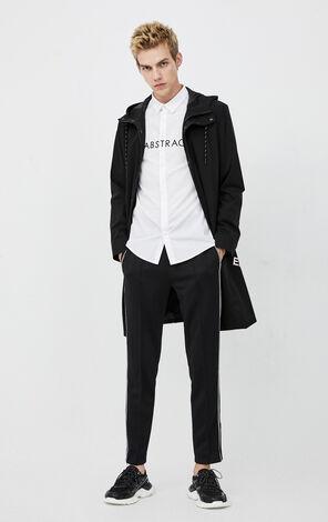 JackJones Men's Winter Letter Print Mid-length Hooded Trench Coat| 220121508