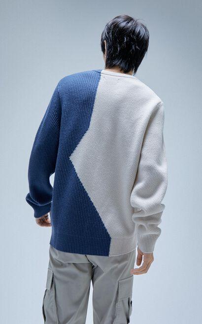 拼接字母針織衫, Blue, large