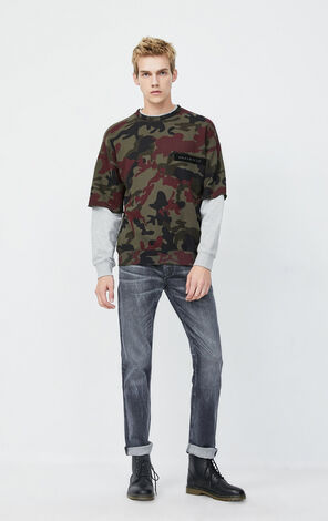 JackJones Men's Winter Stretch Cotton Faded Jeans| 220132521