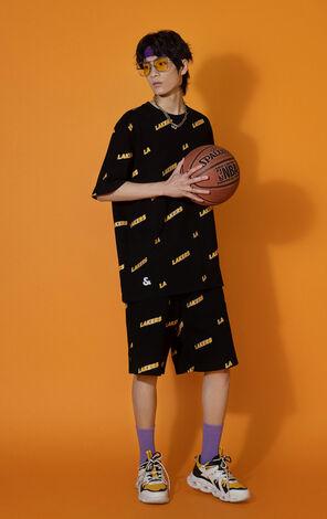 【NBA聯名款】洛杉磯湖人隊字母寬鬆短褲