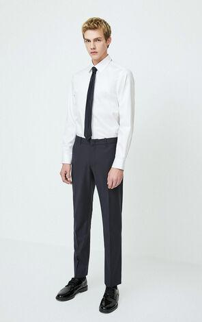 JackJones Men's Winter Slim Fit Stretch Cotton White Long-sleeved Shirt| 220105521