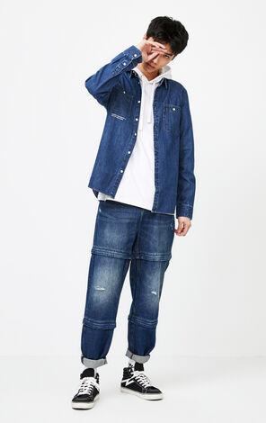 JackJones Spring 100% Cotton Printed Turn-down Collar Long-sleeved Denim Shirt| 220105539